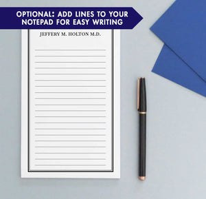 NP127 block font personalized notepads with border business classic paper lined