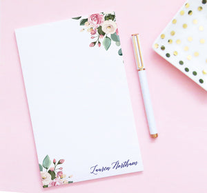 NP129 modern floral personalized notepad set florals flower script