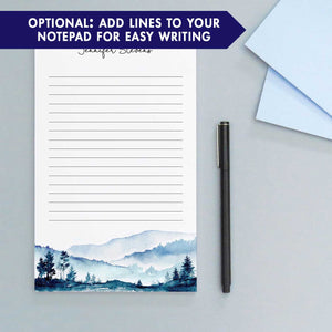 NP130 blue mountains personalized note pads set mountain landscape paper lined