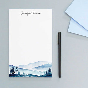 NP130 blue mountains personalized note pads set mountain landscape paper