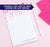 NP135 hearts personalized stationery notepad for girls hear red script lined