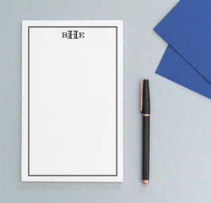 NP137 block font 3 letter monogramed notepad with border professional classic personalized