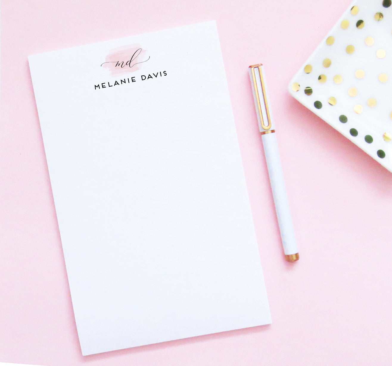 NP139 elegant 2 initial monogram note pads for women pink swatch stationary