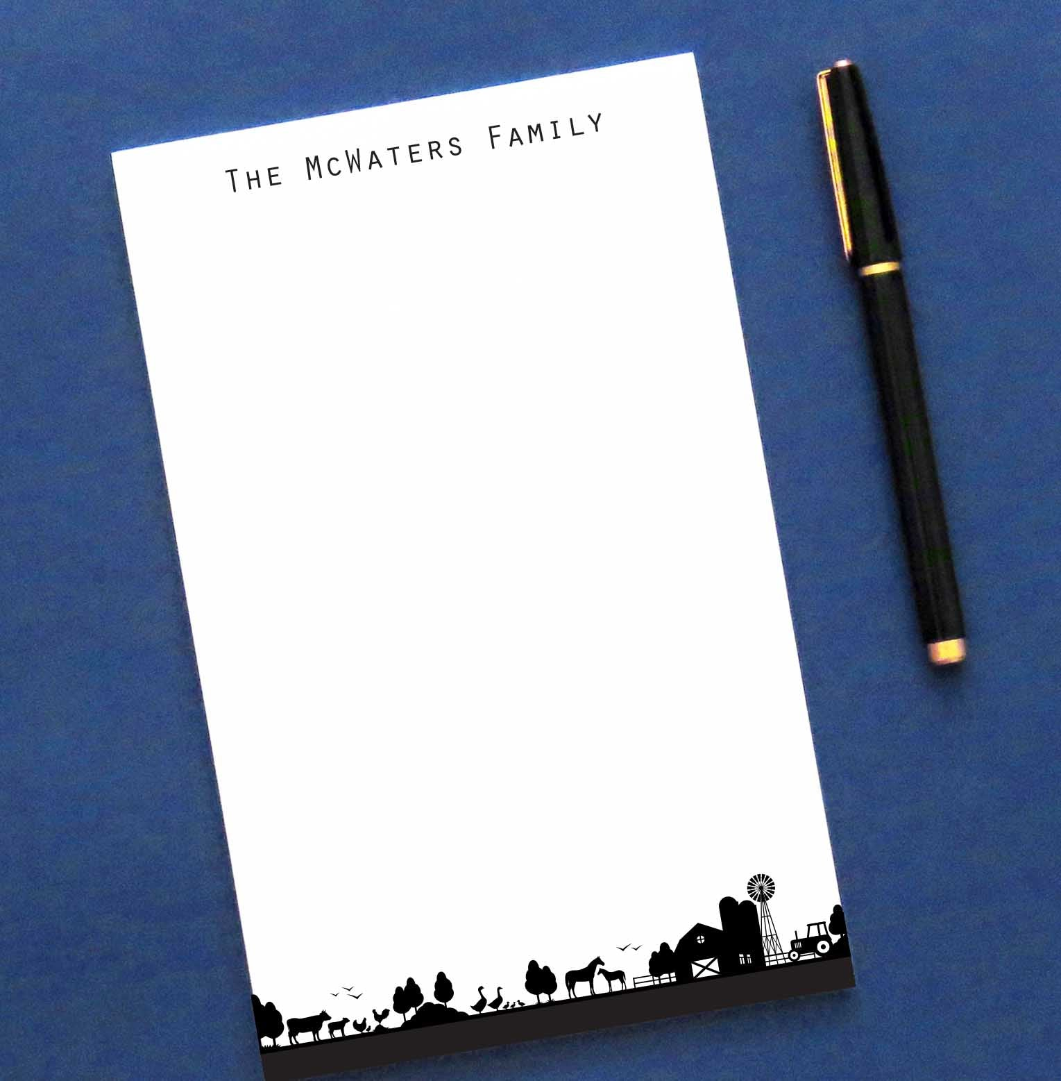 NP140 farm family note pad set personalized ranch animals