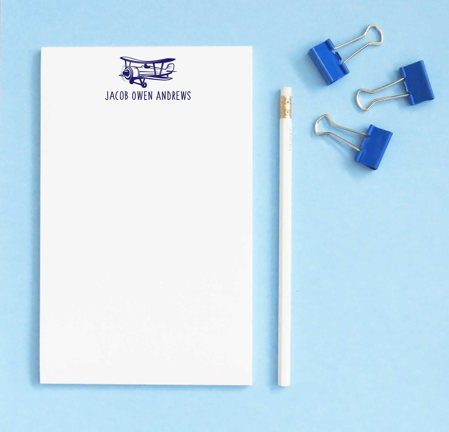 NP141 personalized kids notepad with vintage airplane jet block font