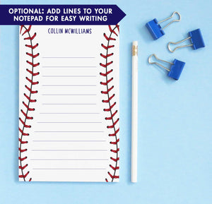 NP143 baseball stitch note pads personalized set sports sport paper lined