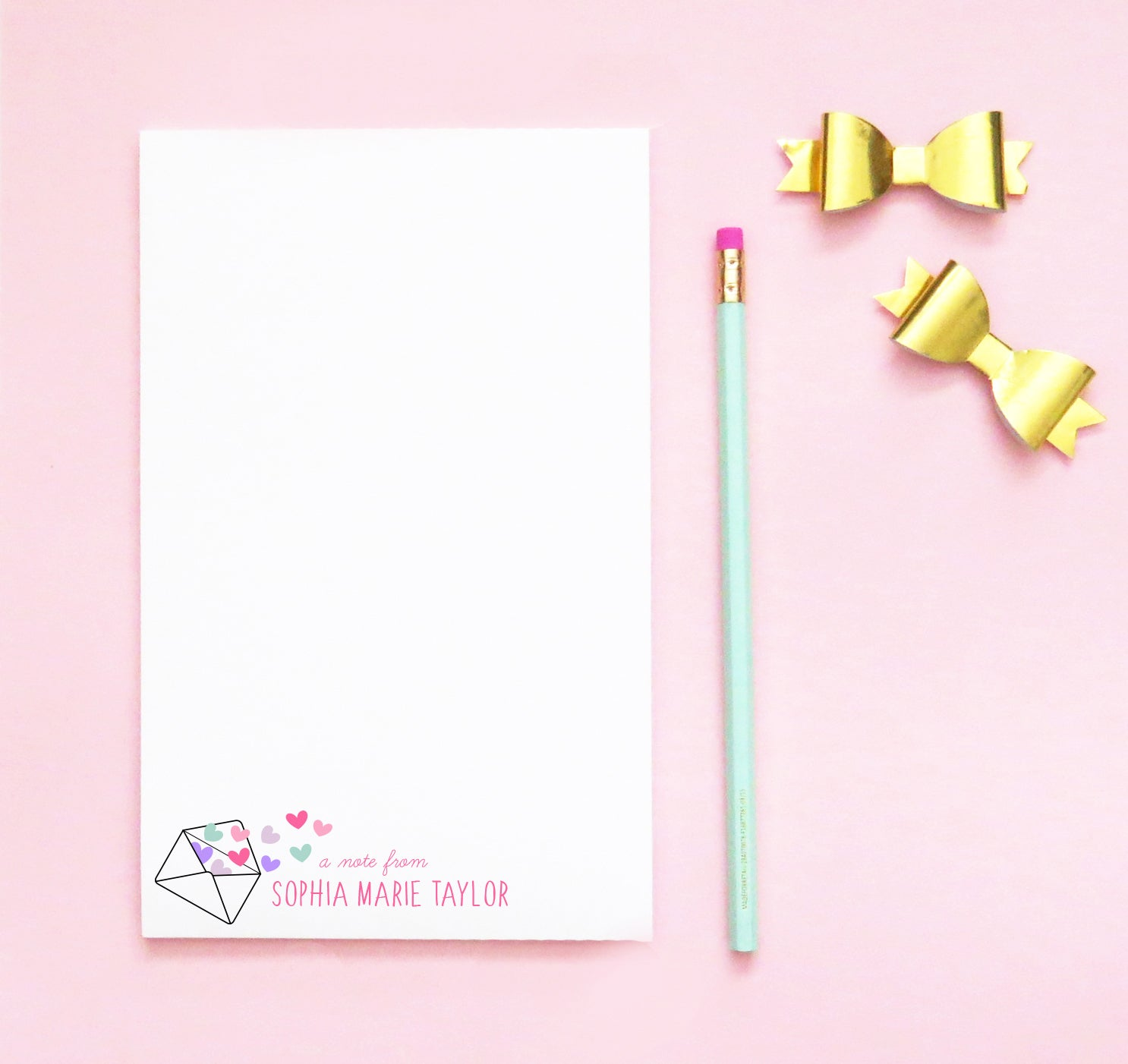 NP146 envelope and hearts personalized notepad for girls a note from stationery