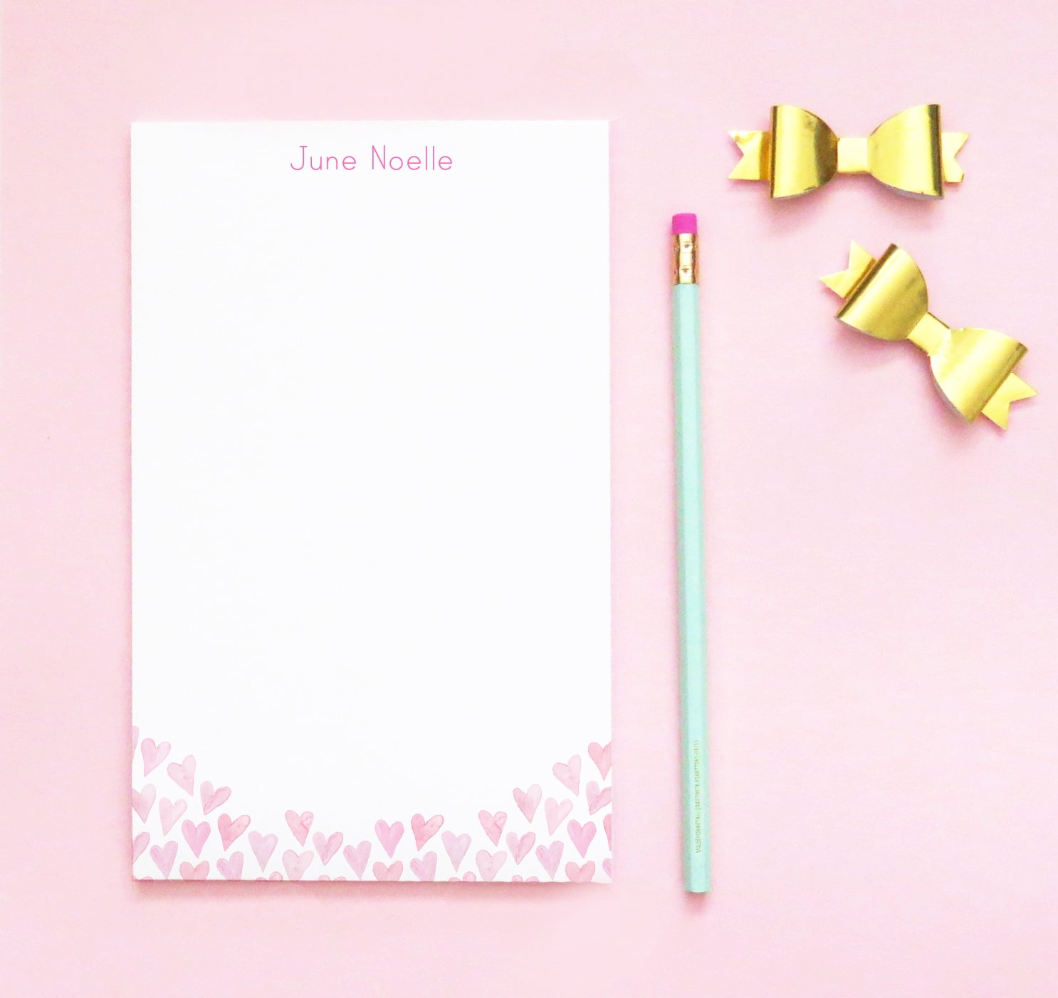 NP147 watercolor pink hearts note pad personalized set personalized
