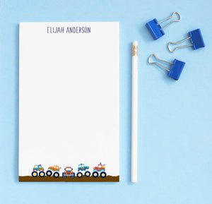NP149 personalized monster truck notepads for kids trucks automobile boys