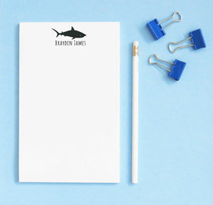 NP152 personalized shark silhouetter kids note pads set sea animal sharks
