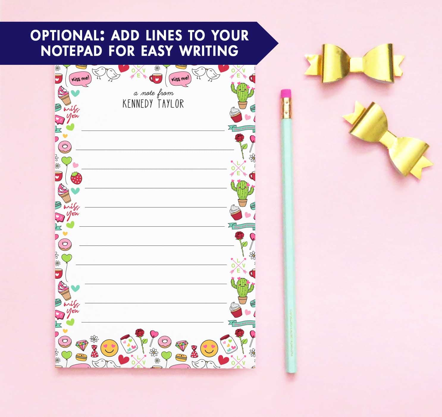 NP153 personalized emoji notepads for kids letter writing