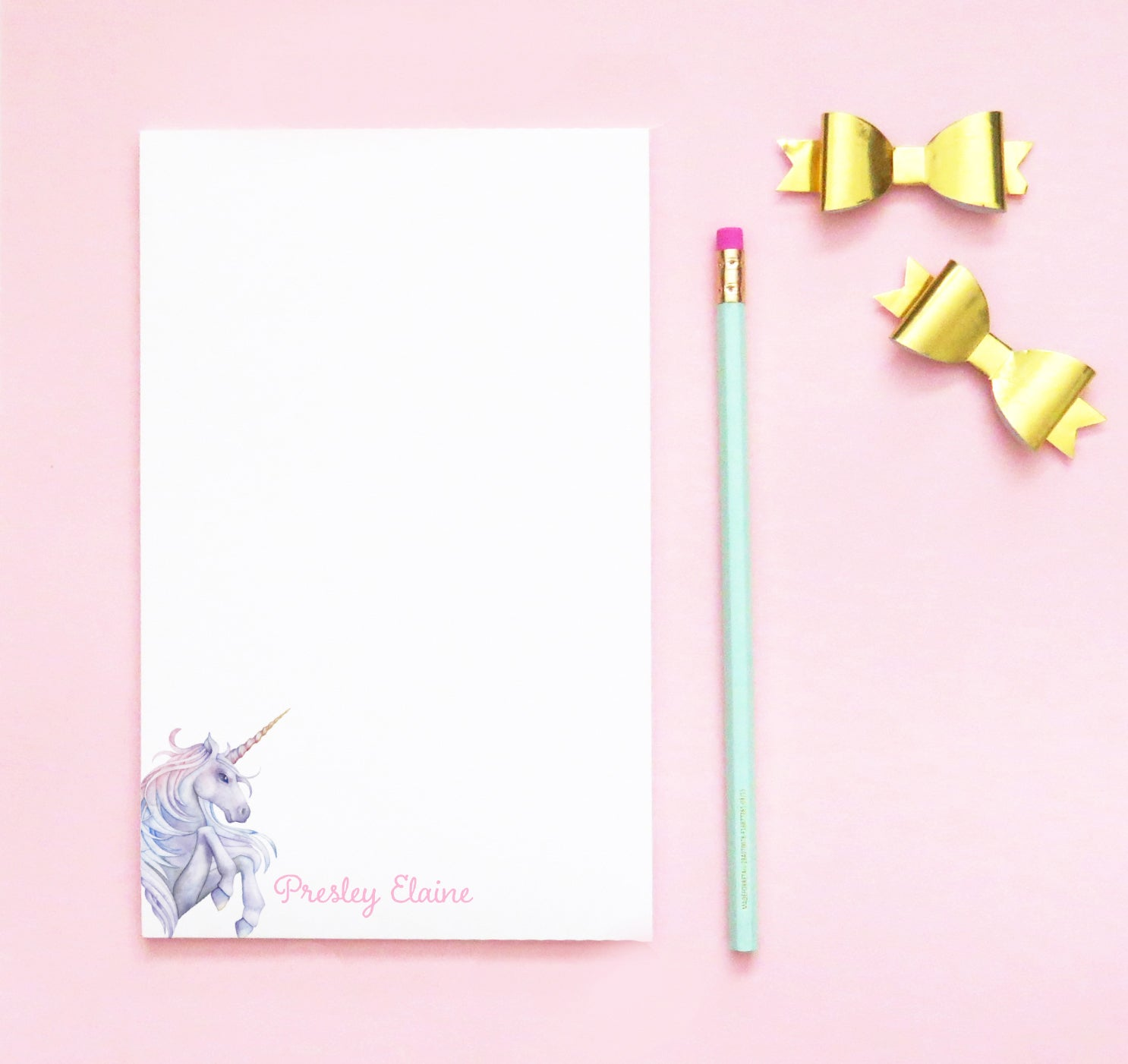 NP155 personalized watercolor unicorn notepads for kids unicorns personal stationery