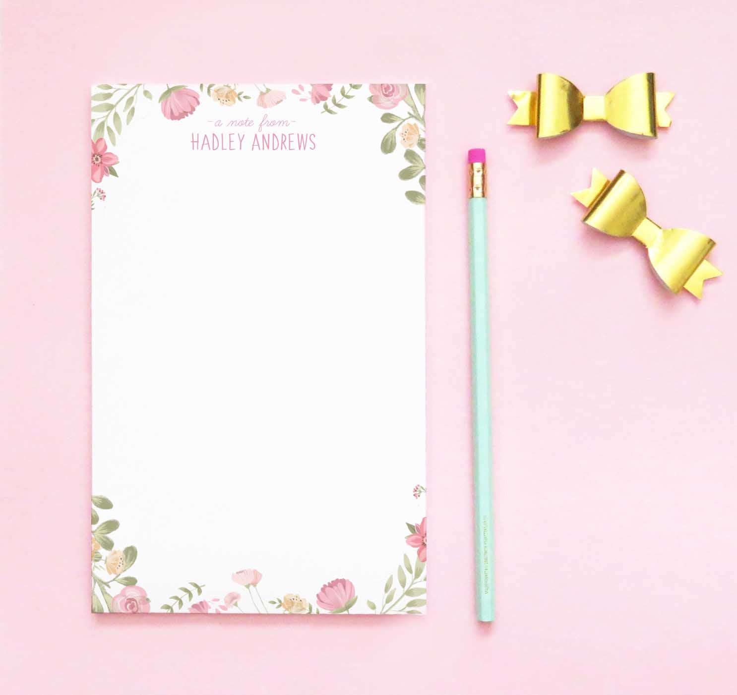 NP157 personalized watercolor floral kids notepads set florals flowers stationary