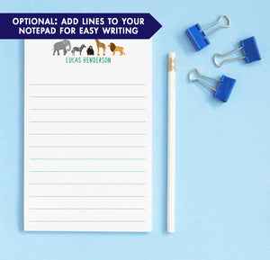 NP158 zoo animals kids notepads with elephant zebra monkey giraffe and lion paper lined