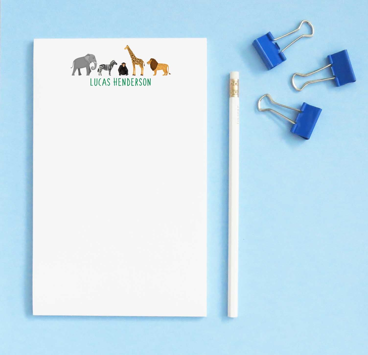 NP158 zoo animals kids notepads with elephant zebra monkey giraffe and lion paper