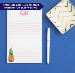 NP161 personalized pineapple 3 letter monogram notepad set fruit stationery paper lined