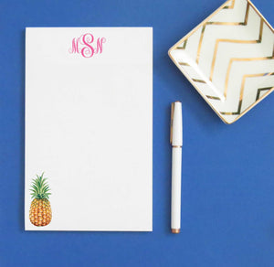 NP161 personalized pineapple 3 letter monogram notepad set fruit stationery paper