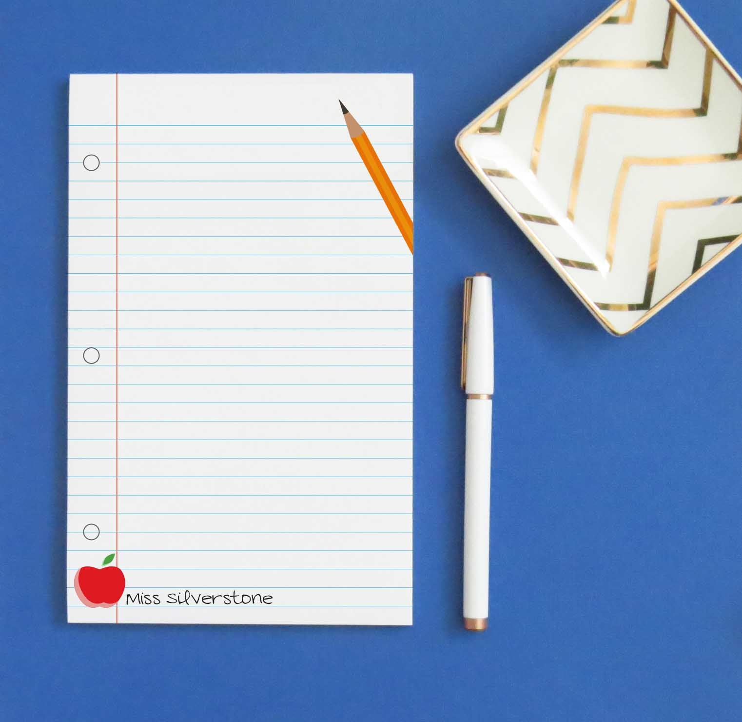 NP164 teacher apple pencil college ruled paper school principal educator personalized