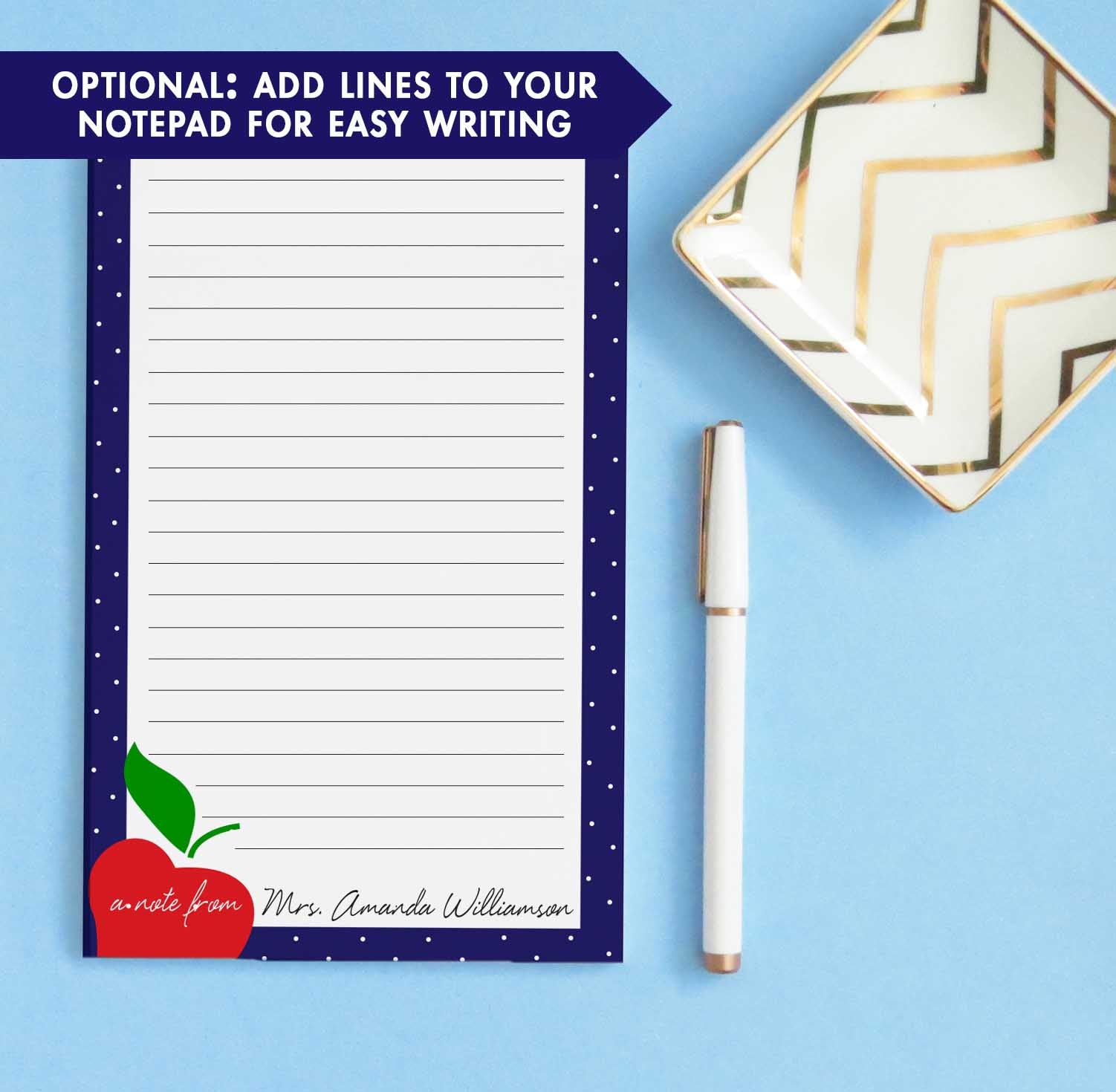 NP165 apple personalized notepad for teachers with polka dot border principal educator stationery