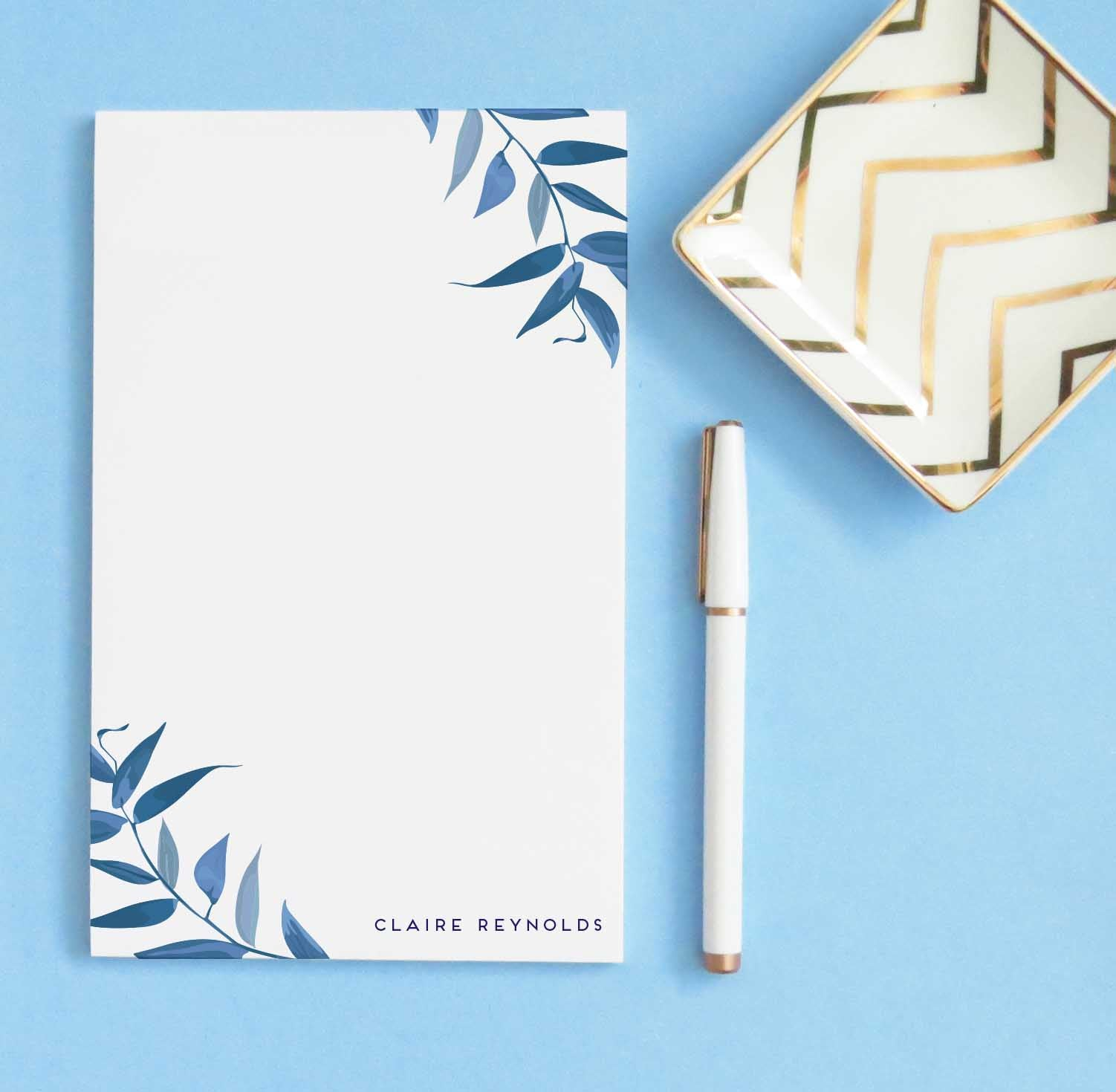 NP166 elegant blue greenery notepad personalized for adults branches stationary