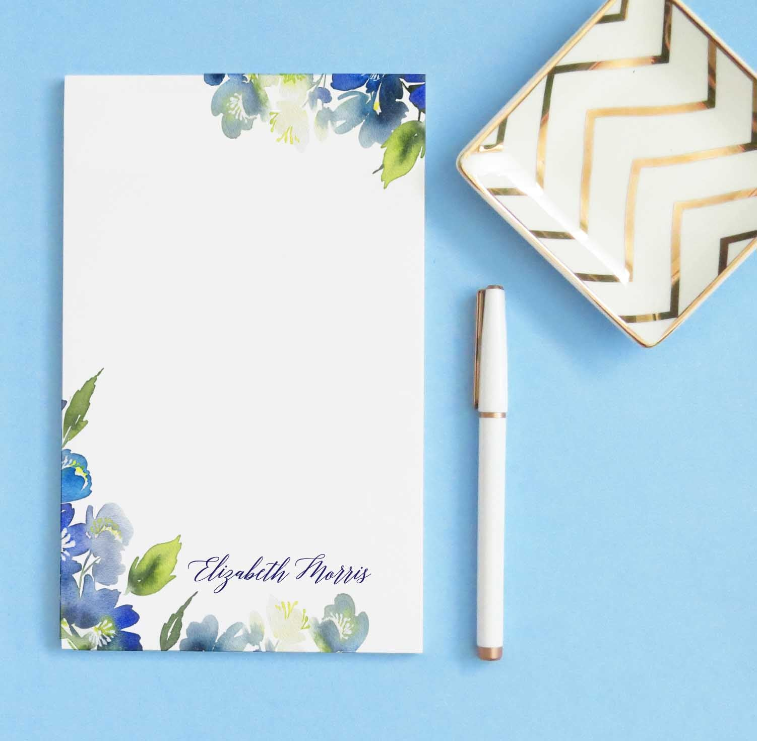 NP167 blue floral greenery personalized stationary notepad set elegant script paper