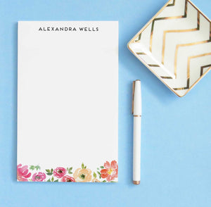 NP169 pink floral personalized stationary notepads florals flowers