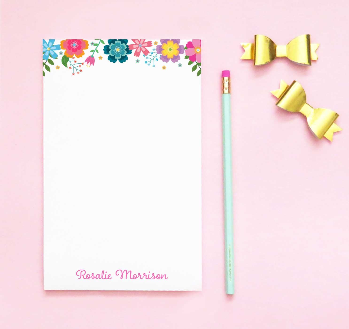 NP170 colorful floral personalized notepad sets girls letter writing