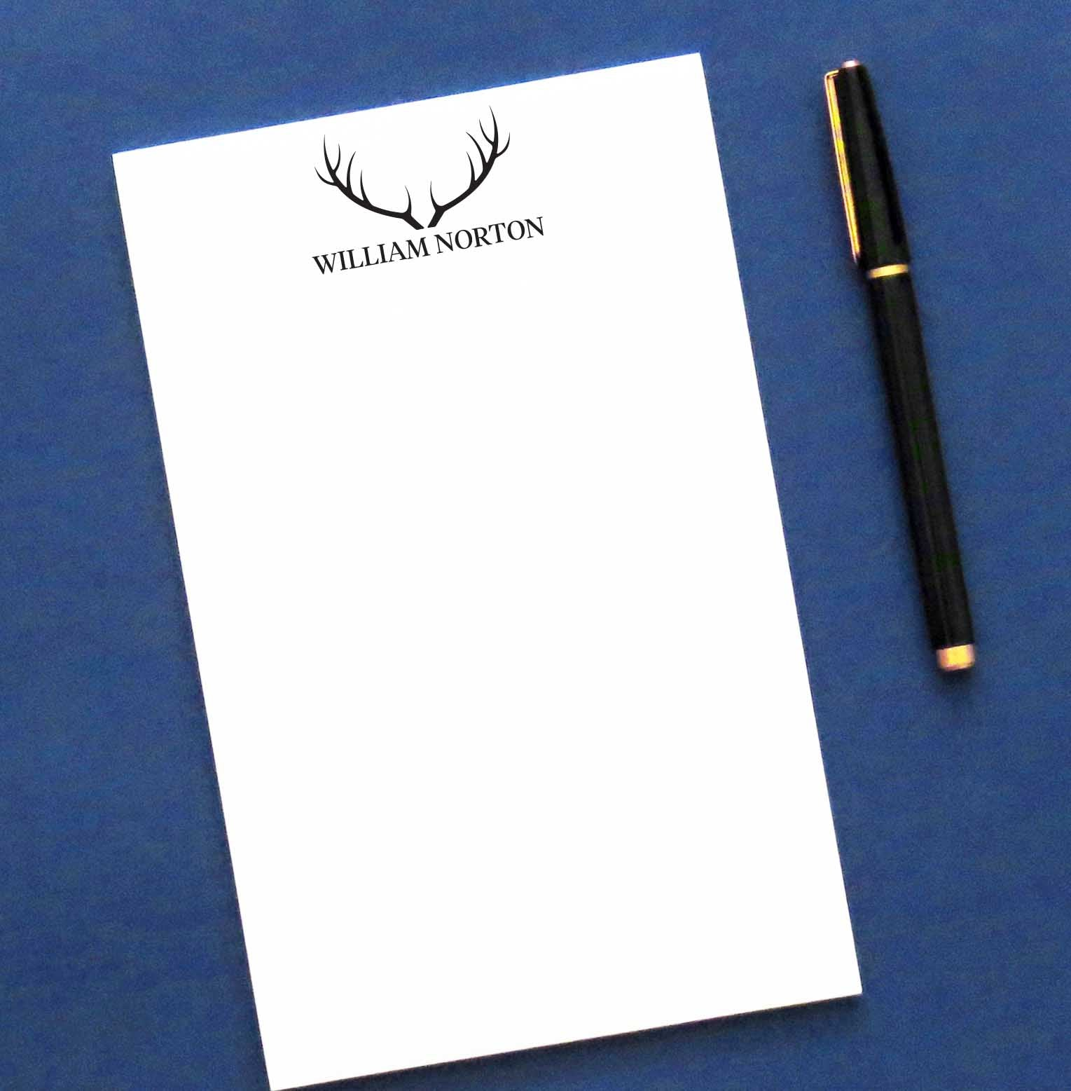 NP171 deer antlers notepad personalized for men letter writing paper