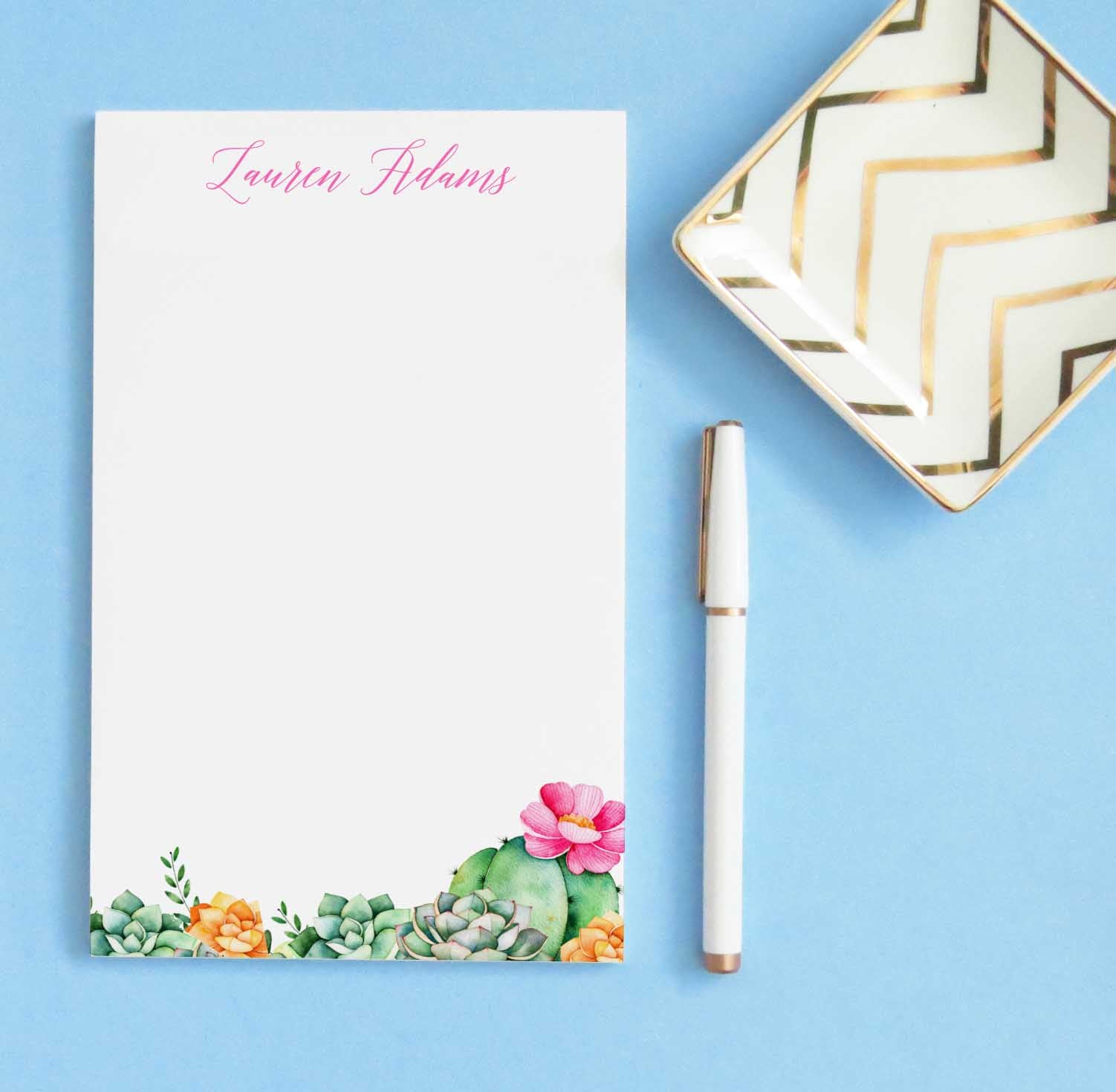 NP174 floral cactus personalized note paper succulents succulent stationery