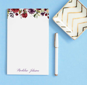NP176 burgundy floral personalized stationery paper fall florals maroon paper