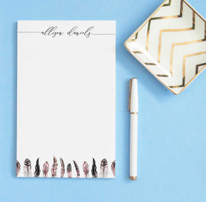 NP182 pink feathers note pads personalized set feather elegant paper