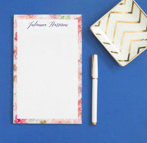 NP184 pink watercolor floral border note pad personalized set florals elegant stationery.