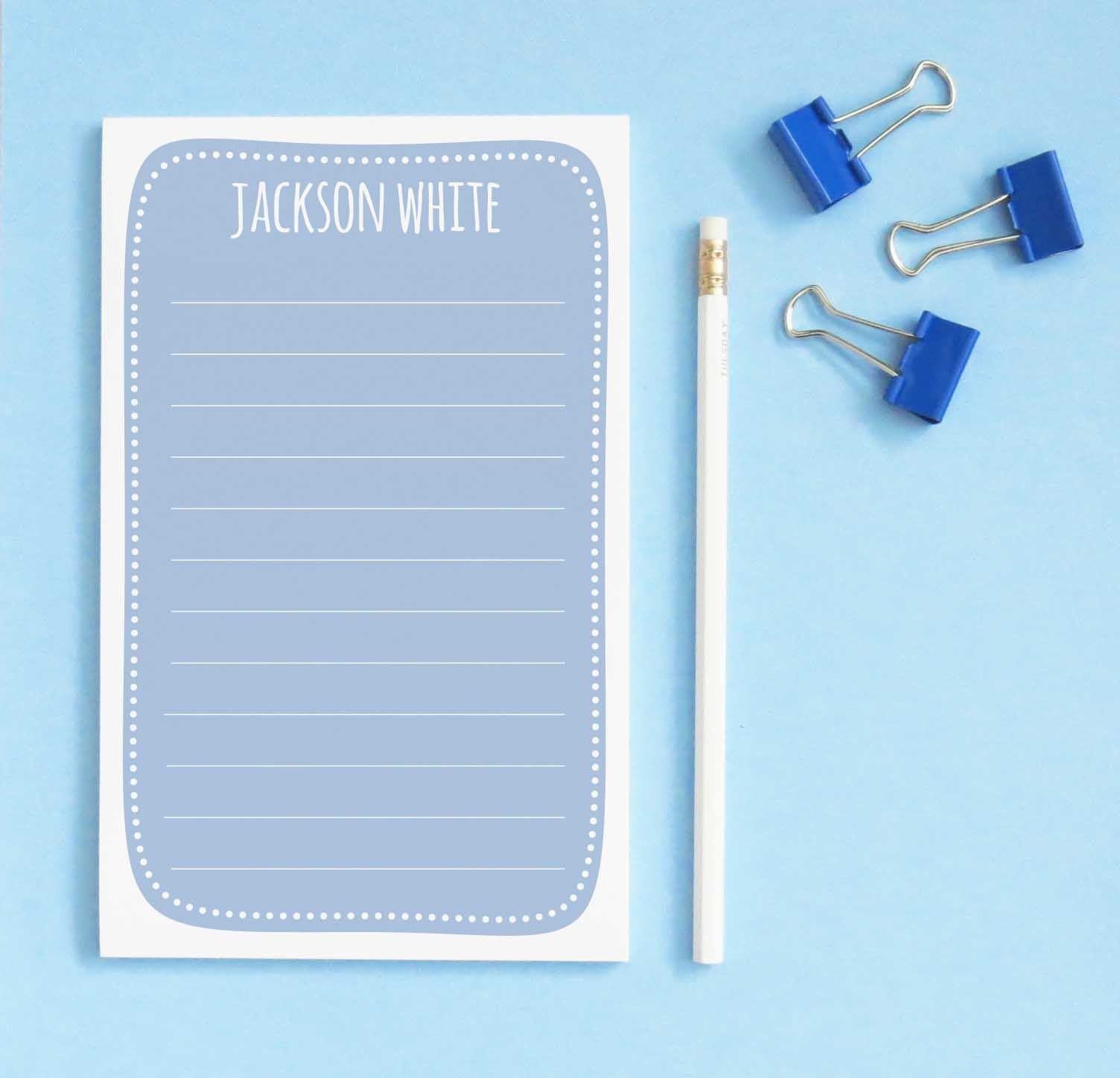 NP192 blue personalized writing paper for boys notepad stationery