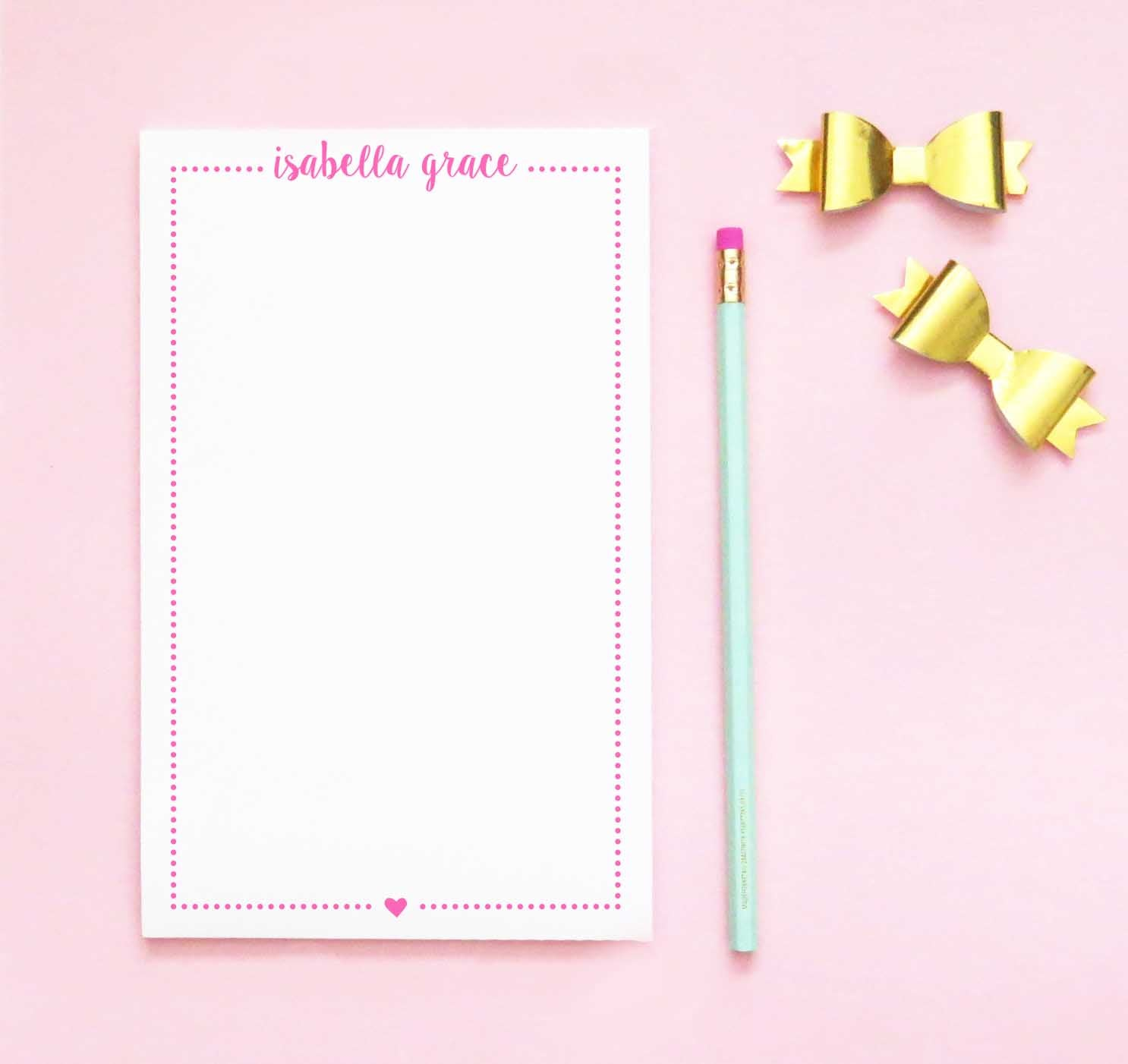 NP193 cute heart personalized note pads with polka dot frame girls kids paper