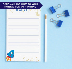 NP194 rocketship personalized note pads for kids stars gold stationery lined