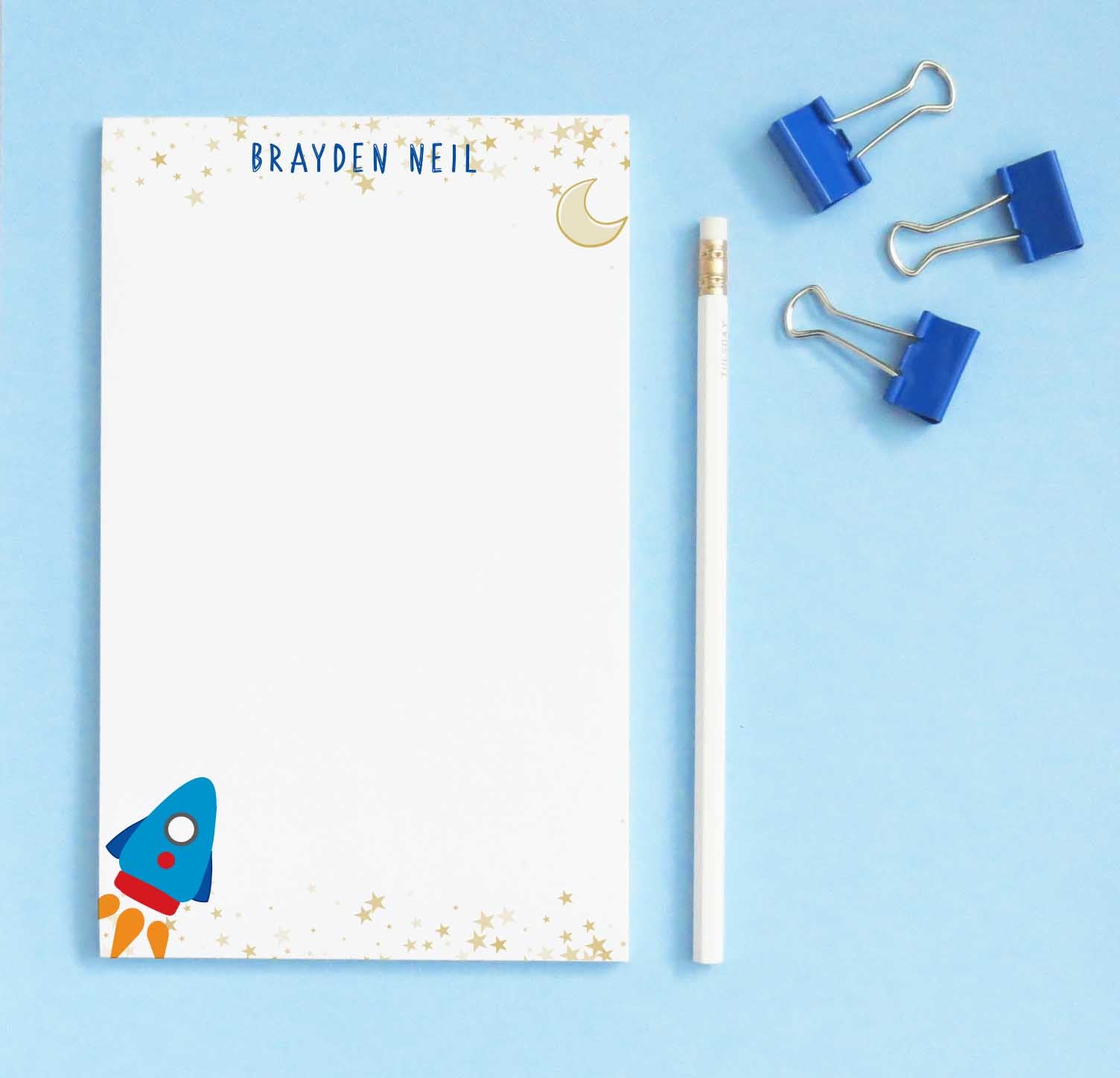 NP194 rocketship personalized note pads for kids stars gold stationery