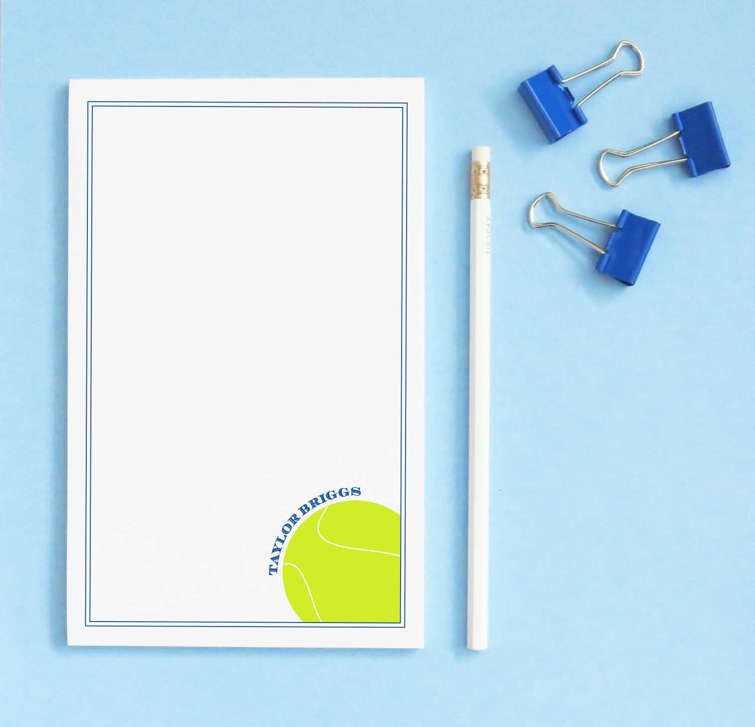 NP196 tennis personalized stationary notepad sport sports border