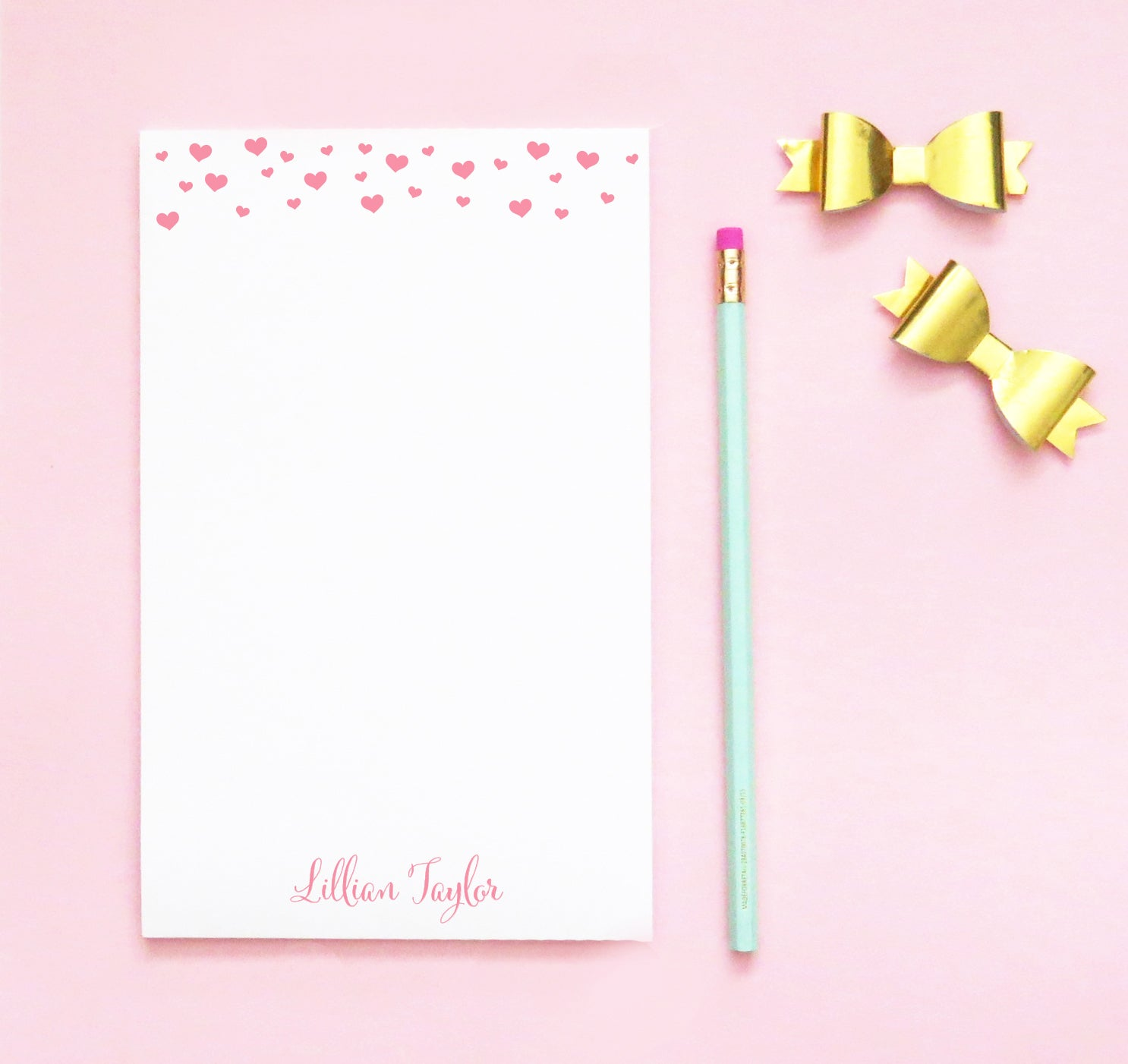 NP198 hearts personalized stationary notepad for girls letter writing paper