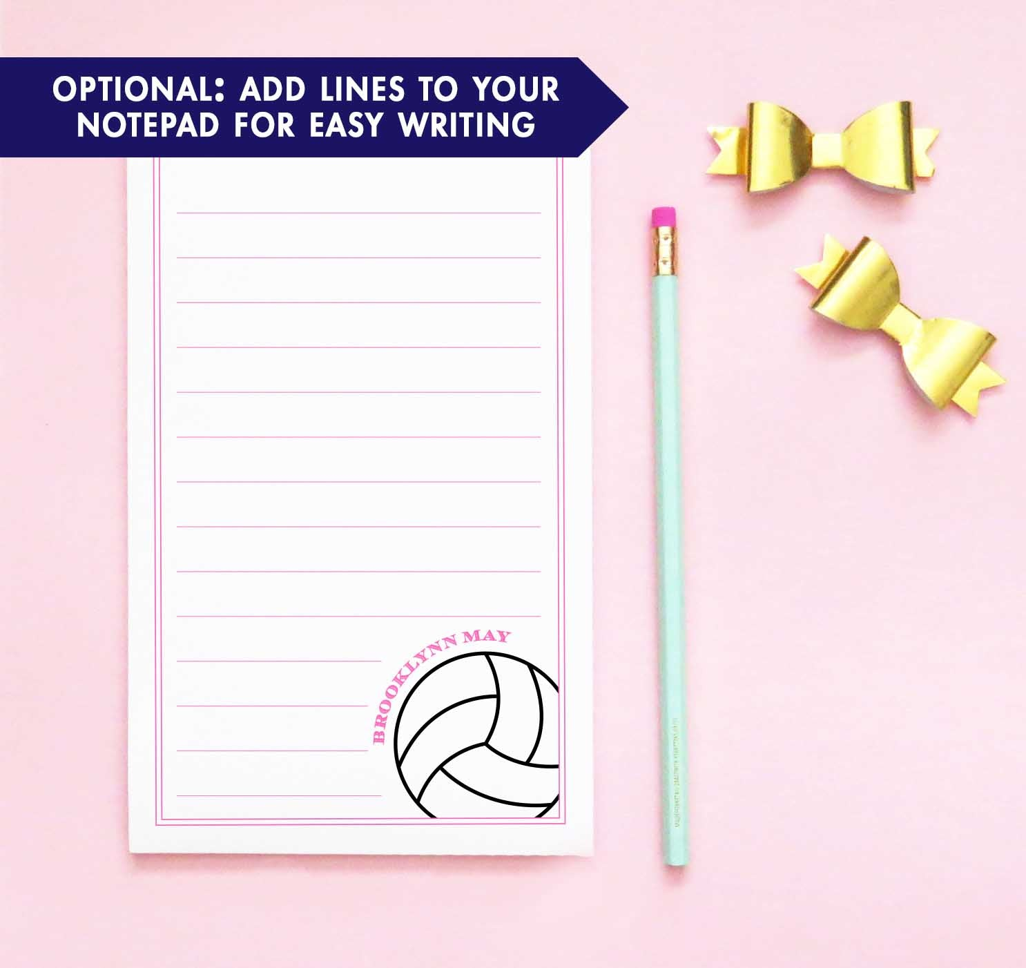 NP199 volleyball personalized stationary paper for kids sports notepad border