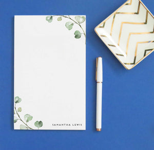 NP201 simple greenery personalized notepad sets green eucalyptus