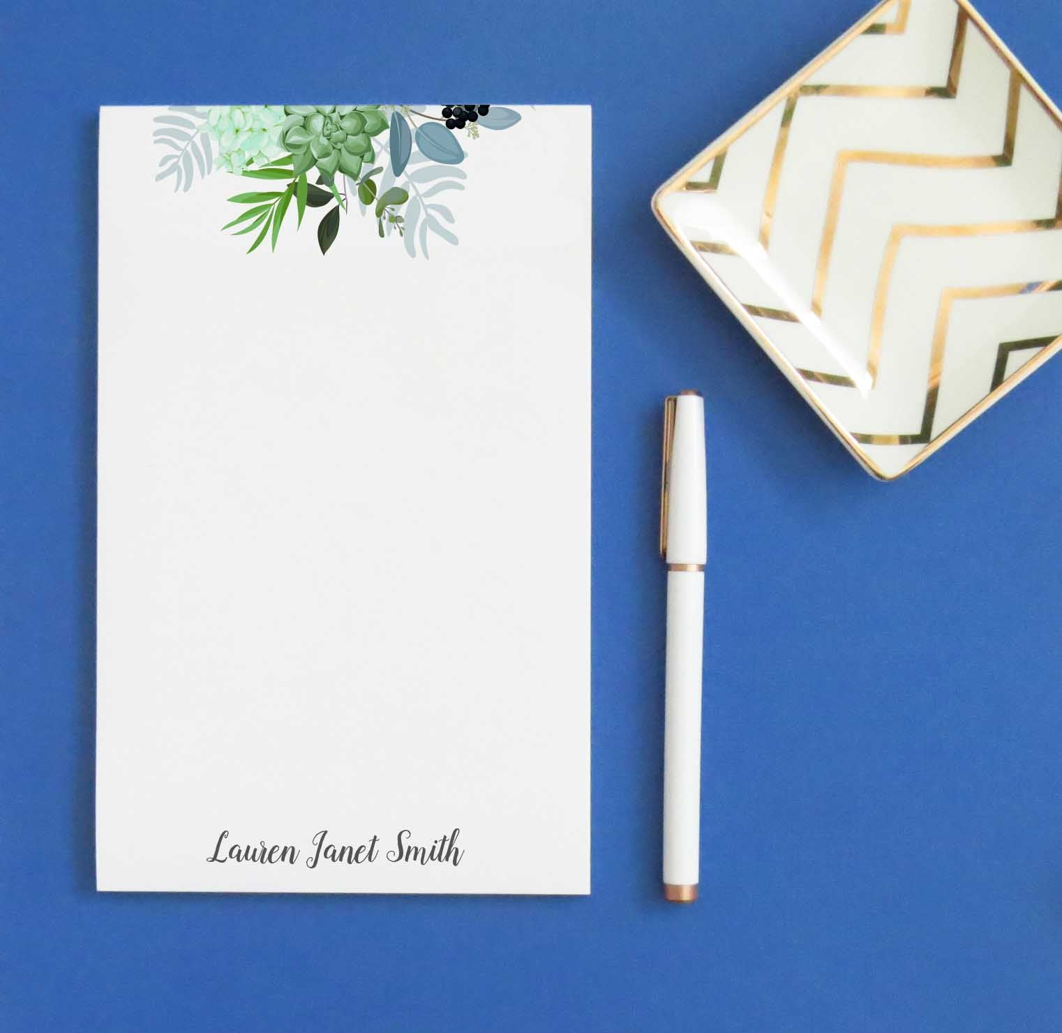 Greenery Succulent Personalized Notepad Sets