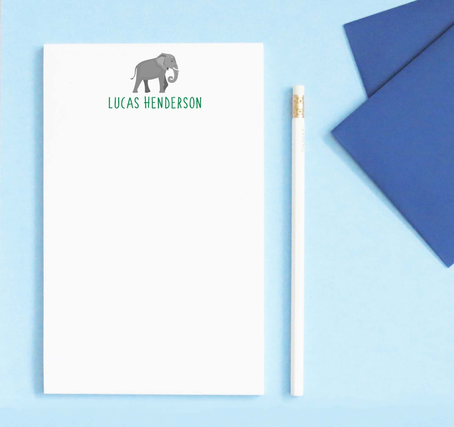 NP208 elephant personalized notepads for boys and girls zoo animal