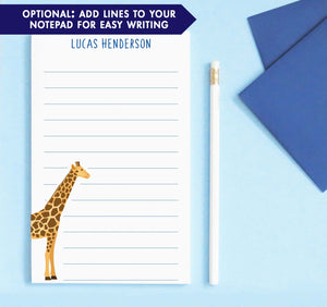 NP209 cute giraffe notepad personalized for kids zoo animal classic lined