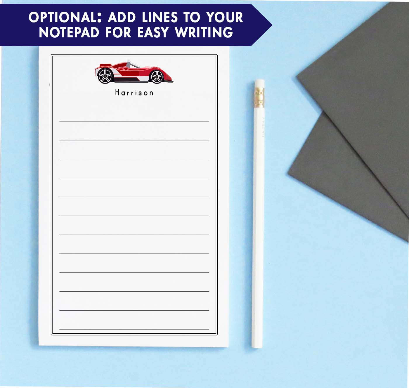 NP210 personalized red race car notepad with classic border vehicle sports car