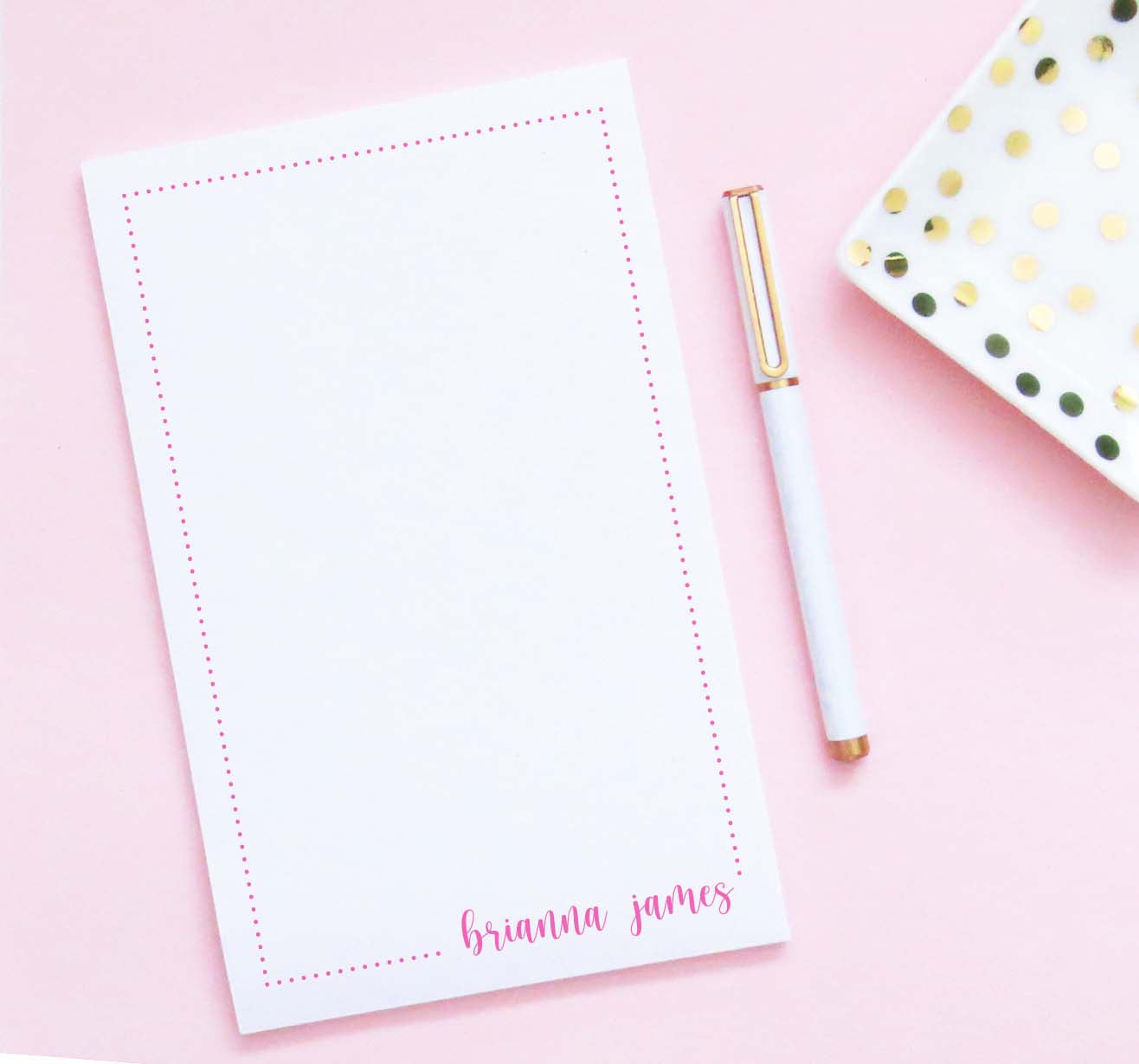 NP213 personalized polka dot border notepads with bottom corner name kids script font
