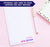 NP215 cute polka dot border personalized notepad for girls xoxo block font lined