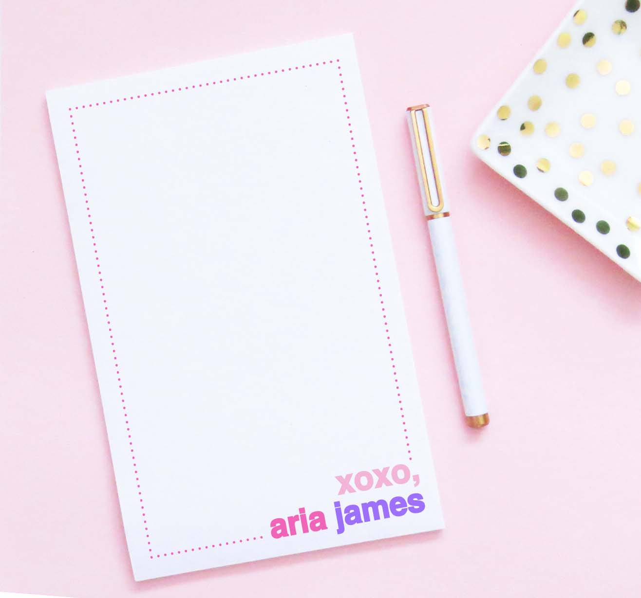 NP215 cute polka dot border personalized notepad for girls xoxo block font