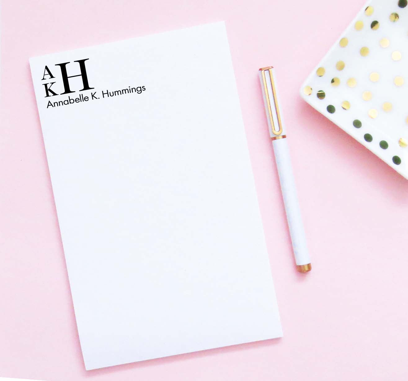 NP216 3 letter monogrammed notepads personalized for adults men women classic