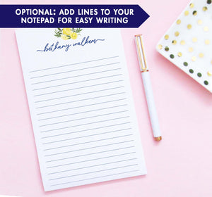 NP224 personalized lemon citrus notepad for adults script font women lemons lined