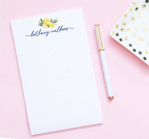 NP224 personalized lemon citrus notepad for adults script font women lemons